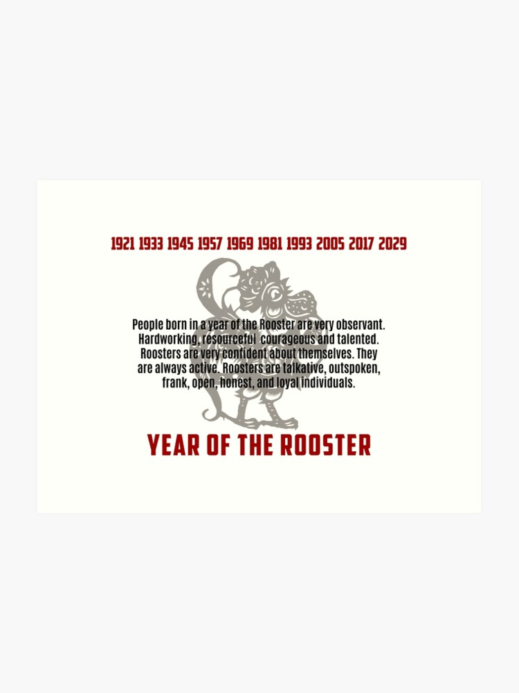 Chinese Zodiac Rooster Traits   Art Print