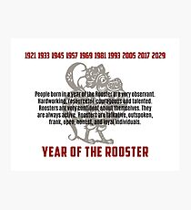 Chinese Zodiac Rooster Traits Photographic Print