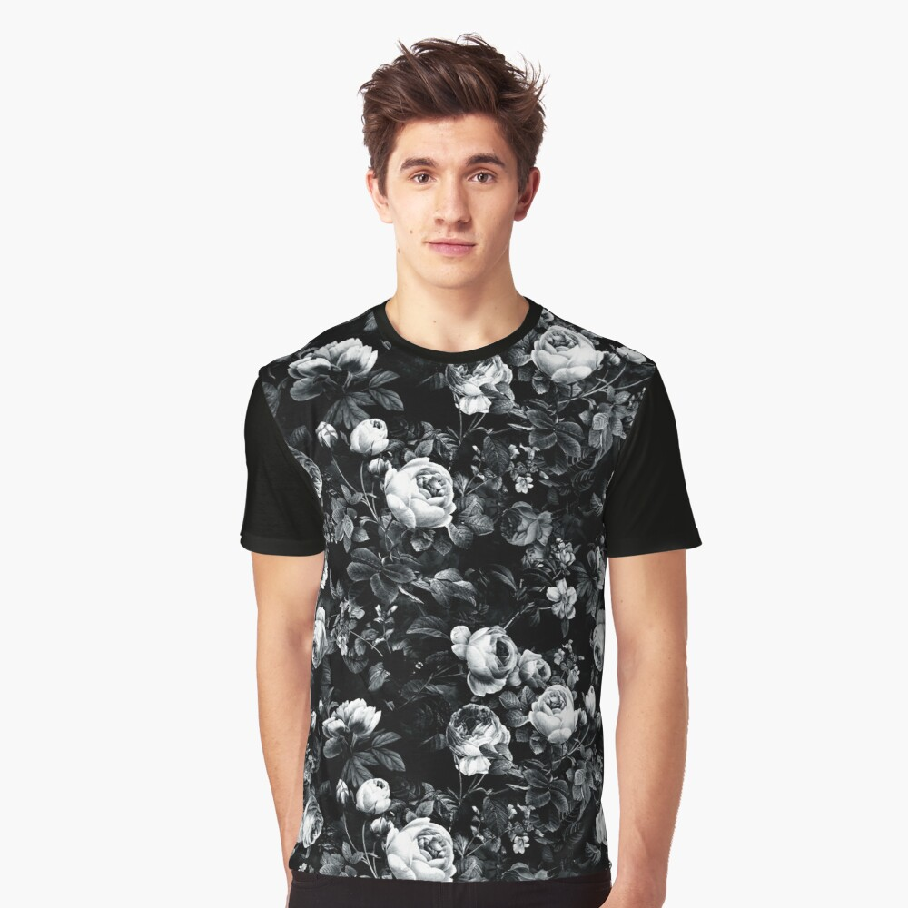 Roses Black and White Graphic T-Shirt
