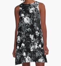 Rosen Schwarz und Weiß A-Linien Kleid