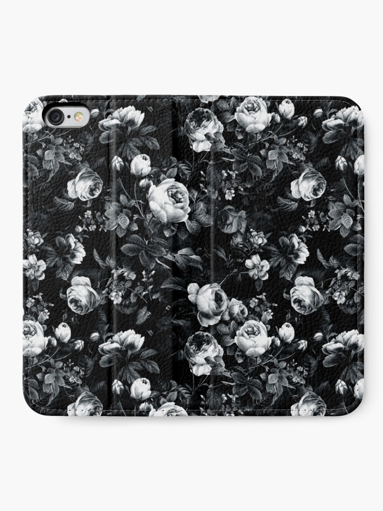 Alternate view of Roses Black and White iPhone Wallet
