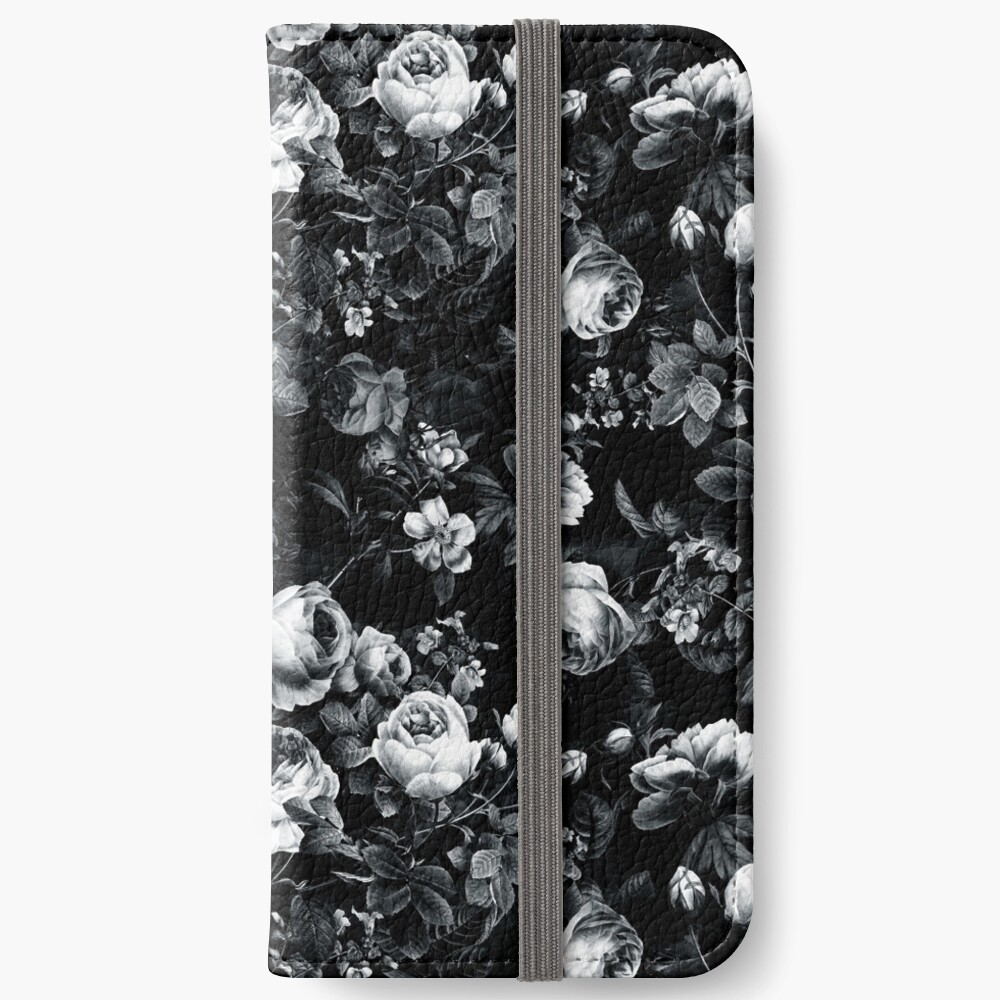 Roses Black and White iPhone Wallet
