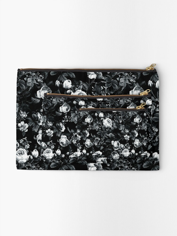 Alternate view of Roses Black and White Zipper Pouch