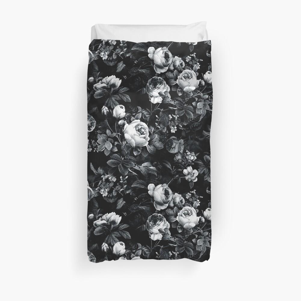 Roses Black and White Duvet Cover