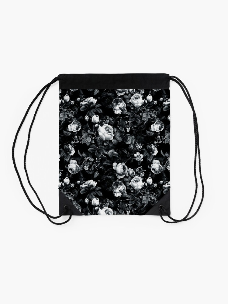 Alternate view of Roses Black and White Drawstring Bag
