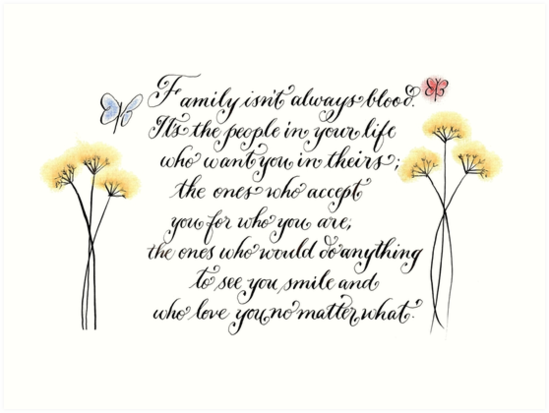 Family Isnt Always Blood Typography Quote Art Prints By Melissa