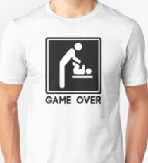 Game Over New Baby for Parent Dad Slim Fit T-Shirt