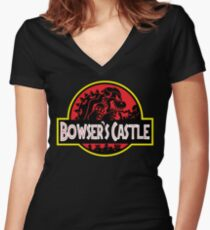 Bowser's Jurassic Castle Women's Fitted V-Neck T-Shirt