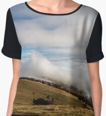 Beautiful landscape overview from the mountain to ocean of clouds, Alsace, France Women's Chiffon Top