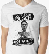 Out A Road #FREEWORLBOSS BLACK Men's V-Neck T-Shirt