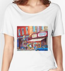 LINE-UP AT CHARCUTERIE SCHWARTZ SUMMER SCENE MONTREAL PAINTING Women's Relaxed Fit T-Shirt