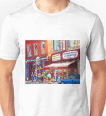 LINE-UP AT CHARCUTERIE SCHWARTZ SUMMER SCENE MONTREAL PAINTING T-Shirt