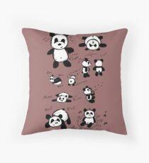 Panda Doodles Throw Pillow