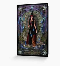 Blue Moon Witch & Dragon Greeting Card