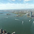Aerial View, Hudson River,  Liberty State Park, Ellis Island, Statue of Liberty,Jersey City, New Jersey by lenspiro