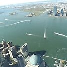 Aerial View, Hudson River,  Liberty State Park, Ellis Island, Statue of Liberty, Jersey City, New Jersey by lenspiro