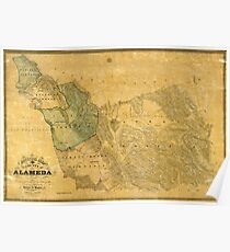 Vintage oakland map posters redbubble map of alameda 1857 poster publicscrutiny Image collections
