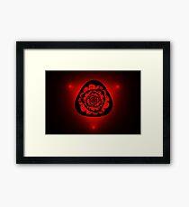 unusual red flower on black background Framed Print