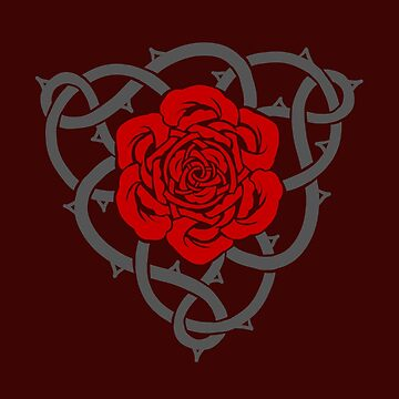 Celtic Irish Knotwork Red Rose with Grey Vines and Thorns by ninniku