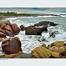 Cresting surf, Mustique Manman Maine by Dave  Higgins