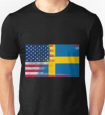 86c34908 Swedish American Half Sweden Half America Flag Unisex T-Shirt