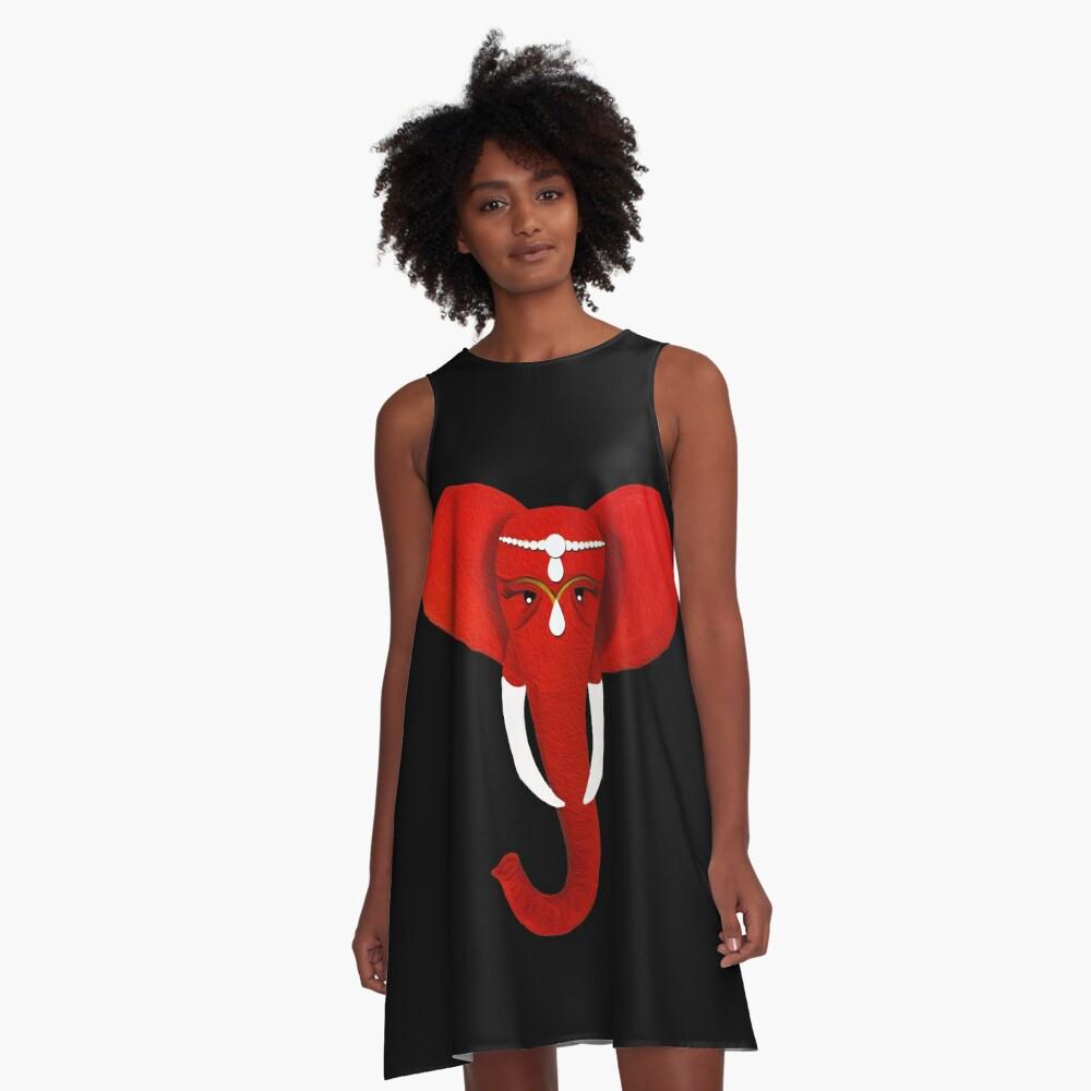 Roter Elefant 3 A-Linien Kleid