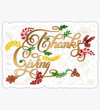 Thanks giving  & 3 leaves pattern ( 183 Views) Sticker
