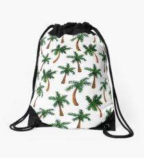 Palm Tree Print Drawstring Bag