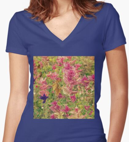 Floral Fitted V-Neck T-Shirt