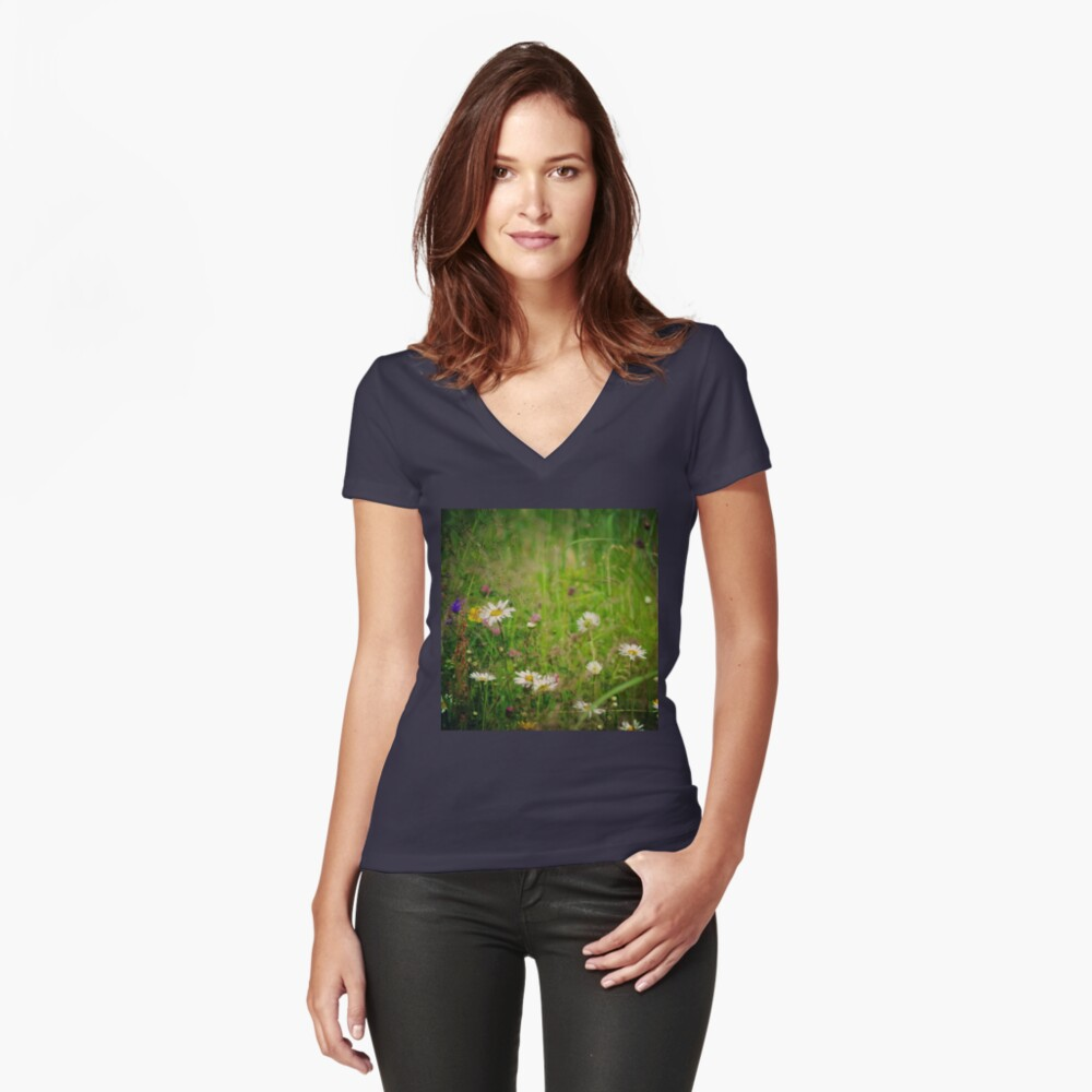 Floral nature Women's Fitted V-Neck T-Shirt Front