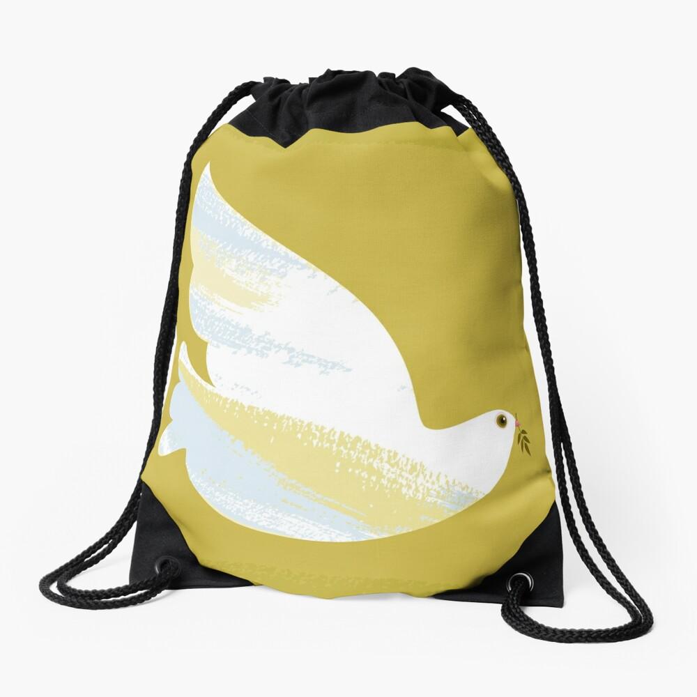 Christmas Dove Drawstring Bag