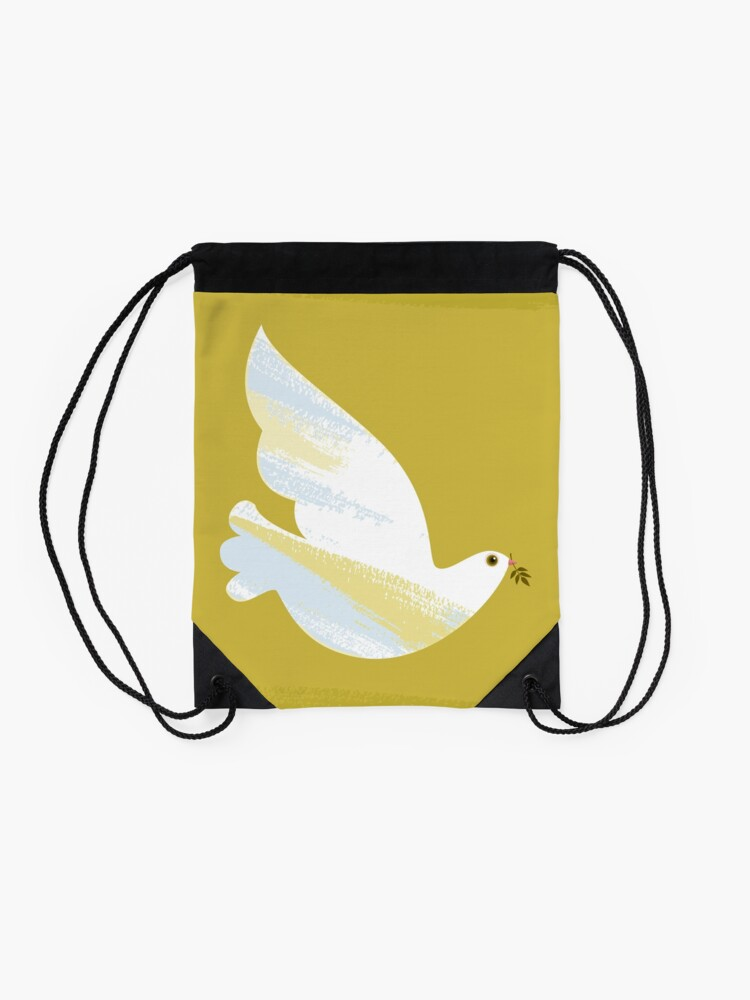Alternate view of Christmas Dove Drawstring Bag