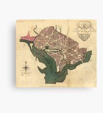 Vintage Map of Washington D.C. (1793) Canvas Print