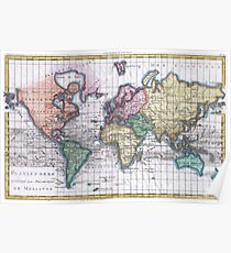 Vintage Map of The World (1780) Poster