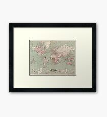Vintage Map of The World (1918)  Framed Print