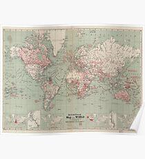 Póster Mapa vintage del mundo (1918)