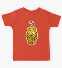 Leopard, Cartoon, Cute, Spotty, Big Cat, Yellow, CAT Kids Tee