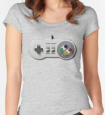 Classic gamepad controller, 80s SNES pad pattern, gray Women's Fitted Scoop T-Shirt
