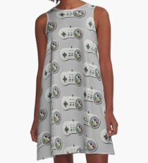 Classic gamepad controller, 80s SNES pad pattern, gray A-Line Dress