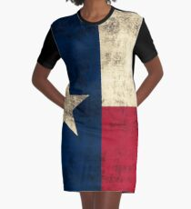 Vintage Grunge Flag of Texas Graphic T-Shirt Dress