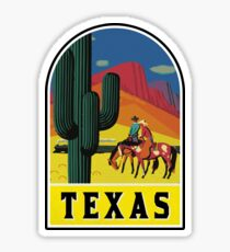 TEXAS VINTAGE TRAVEL WILD WEST COWBOY SAGUARO CACTUS TRAIN MOUNTAINS EL PASO Sticker