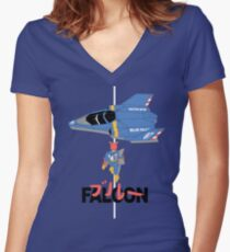 The Legendary Blue Falcon Women's Fitted V-Neck T-Shirt