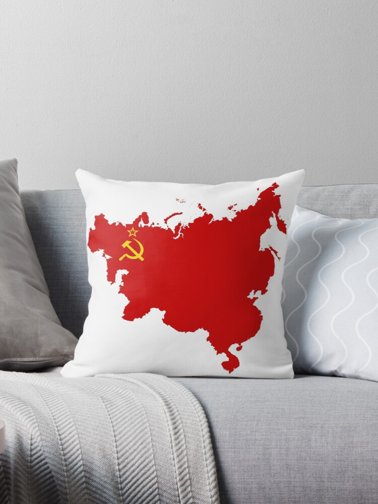\'Communist influence map flag\' Throw Pillow by nikowned