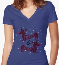 Merry & Bright (Dachshund Sausage Dog) Women's Fitted V-Neck T-Shirt