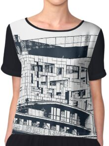 The Cube, Birmingham city centre UK architecture, digitally edited Chiffon Top