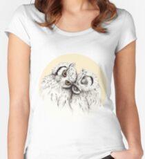 Little Owls cuddling Women's Fitted Scoop T-Shirt
