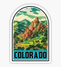 VINTAGE COLORADO TRAVEL MOUNTAINS SKIING HORSE COWBOY EXPLORE HIKE Sticker