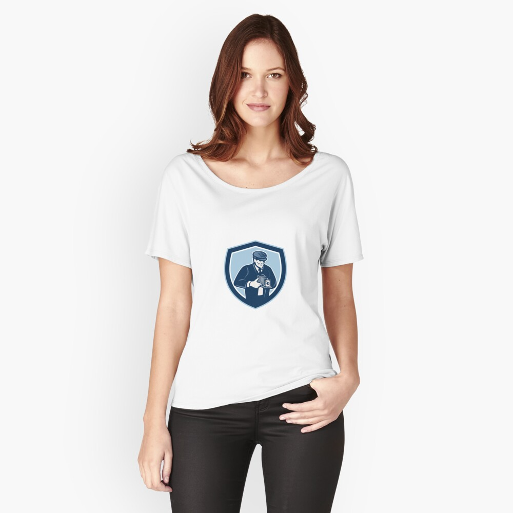 Photographer Shooting Vintage Camera Retro Women's Relaxed Fit T-Shirt Front
