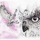 Owls in lilac sky von Leoni Pfeiffer