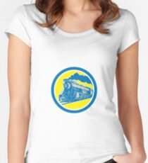 Steam Train Locomotive Circle Retro Women's Fitted Scoop T-Shirt